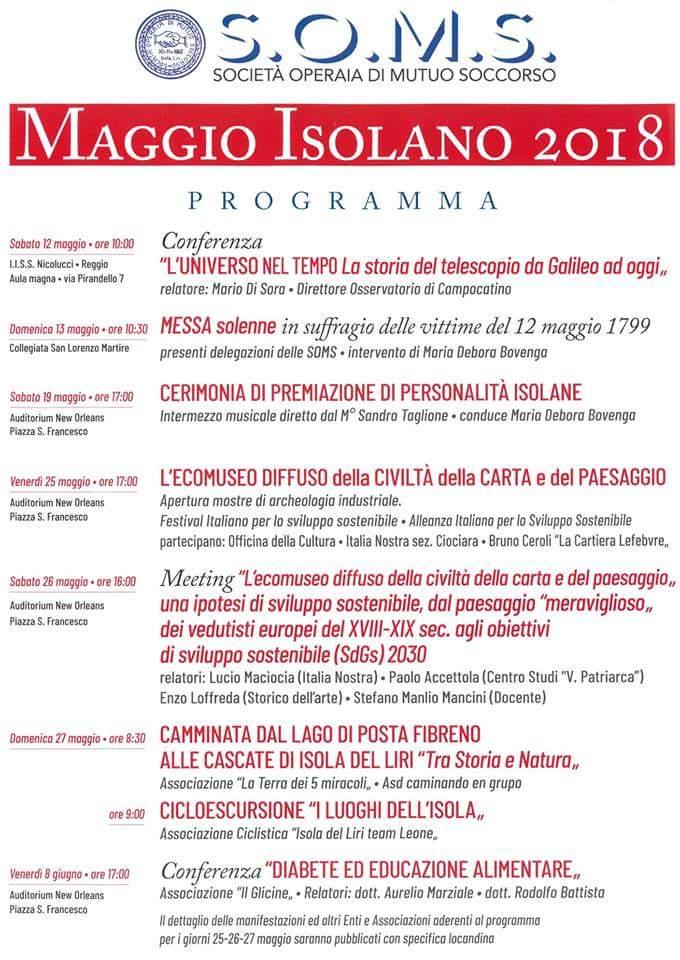 S.O.M.S. Maggio Isolano 2018 @ Isola del Liri